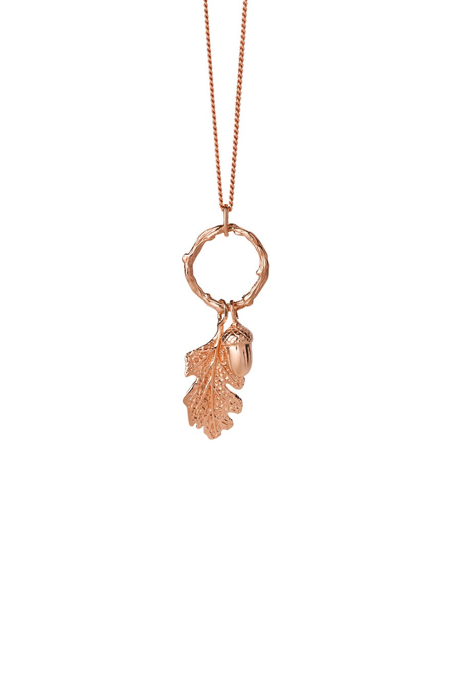Acorn and Leaf Loop Necklace Rose Gold