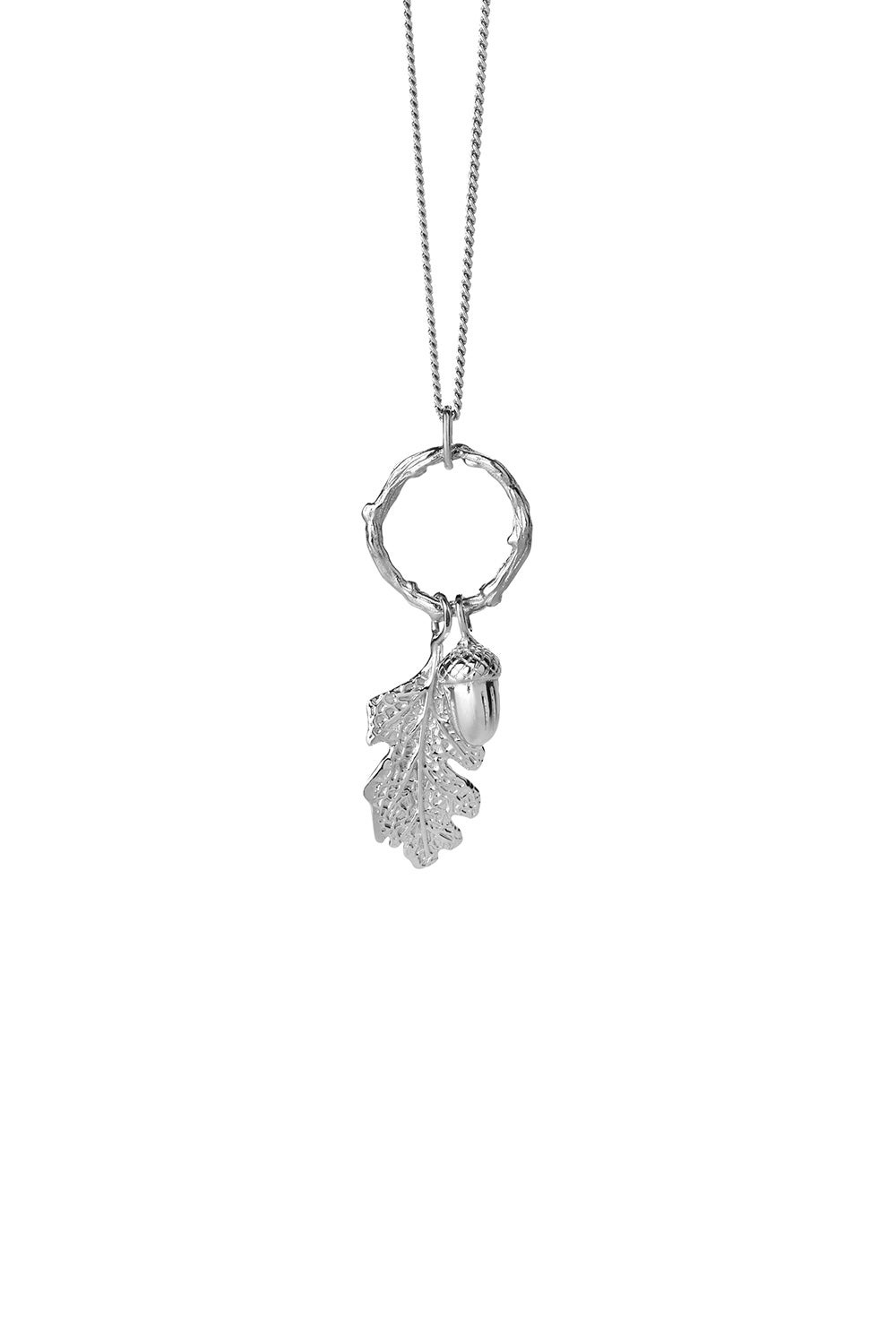 Acorn and Leaf Loop Necklace Silver
