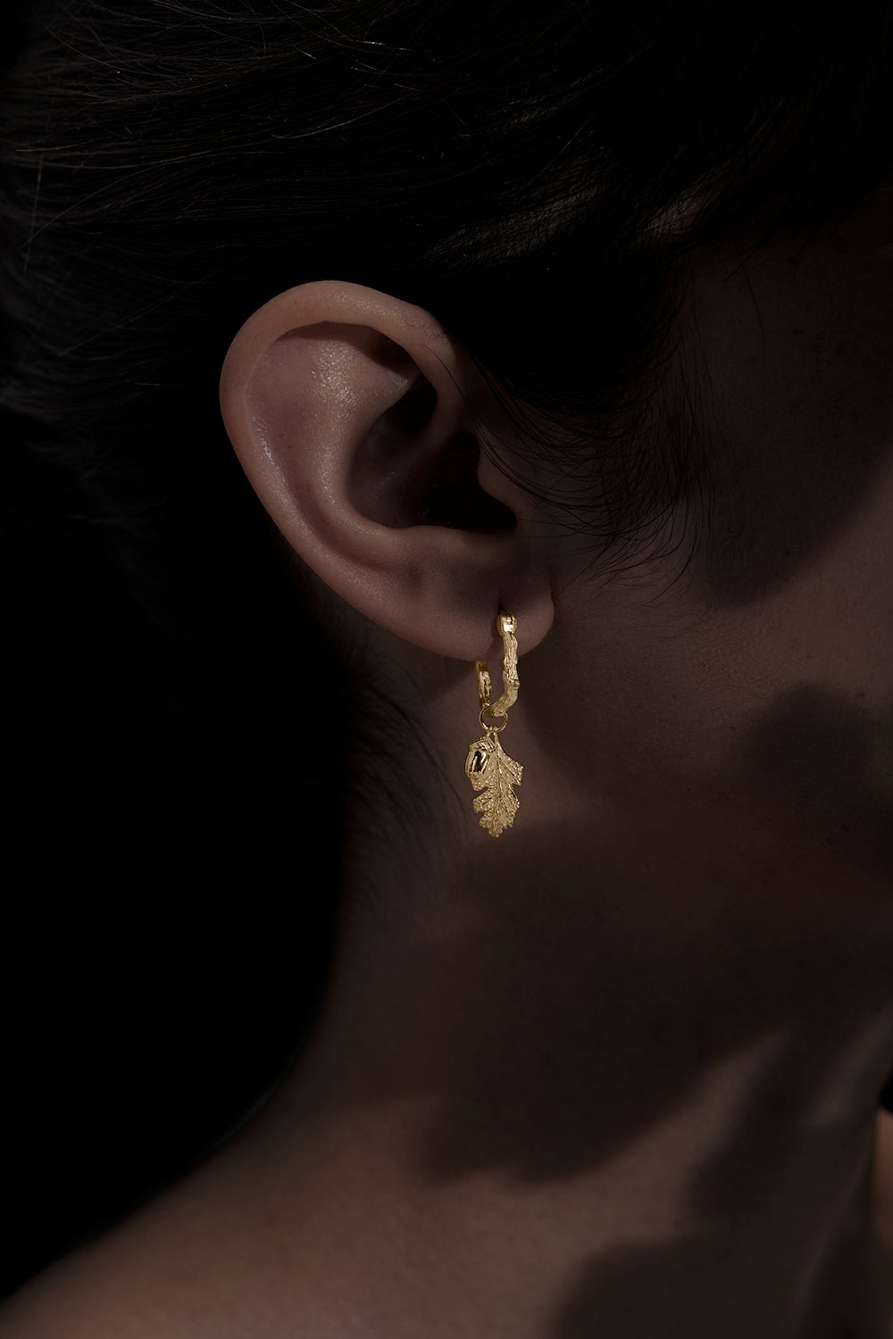 Acorn and Leaf Mini Hoop Earrings Gold