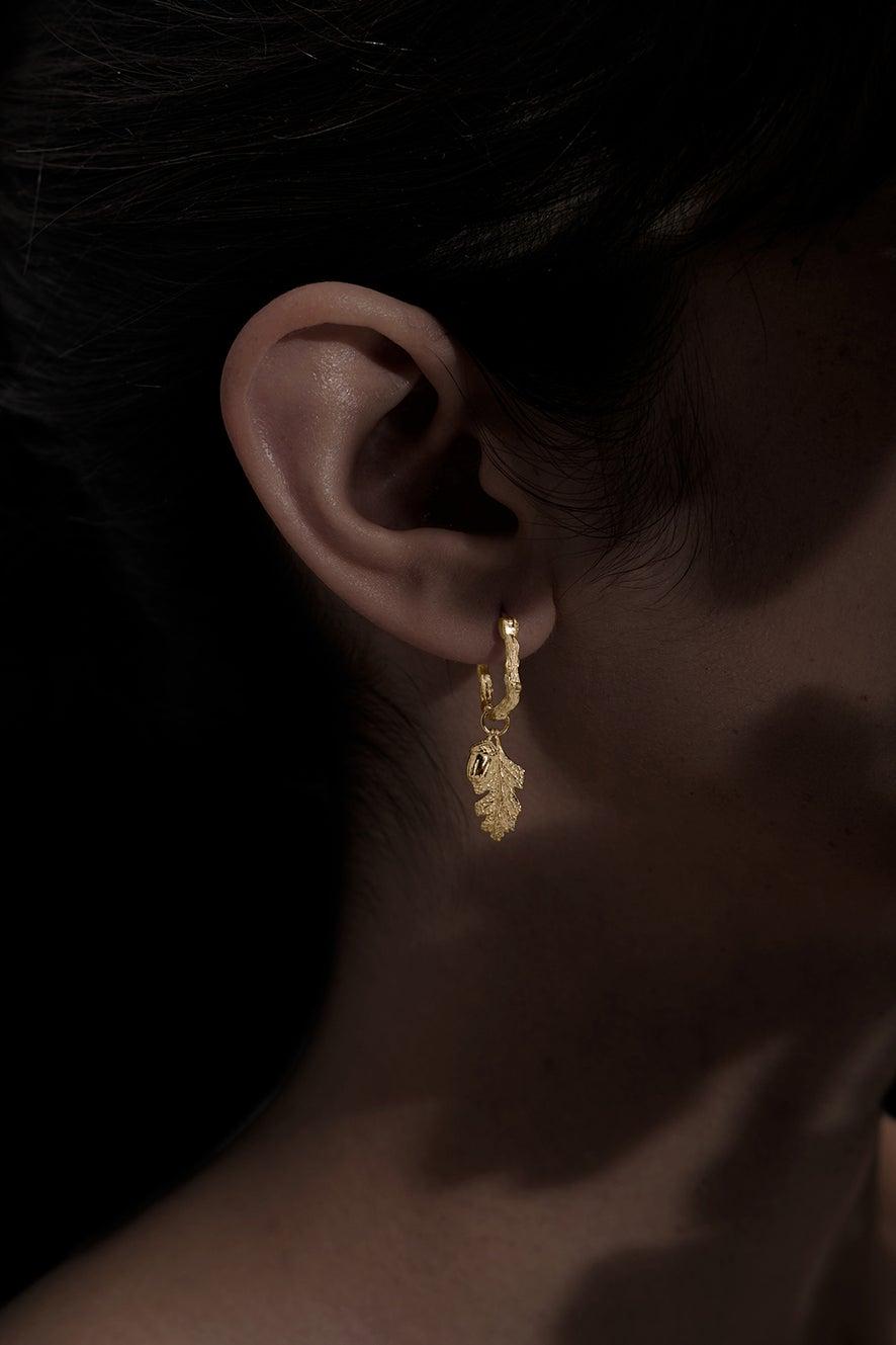 Acorn and Leaf Mini Hoop Earrings Gold