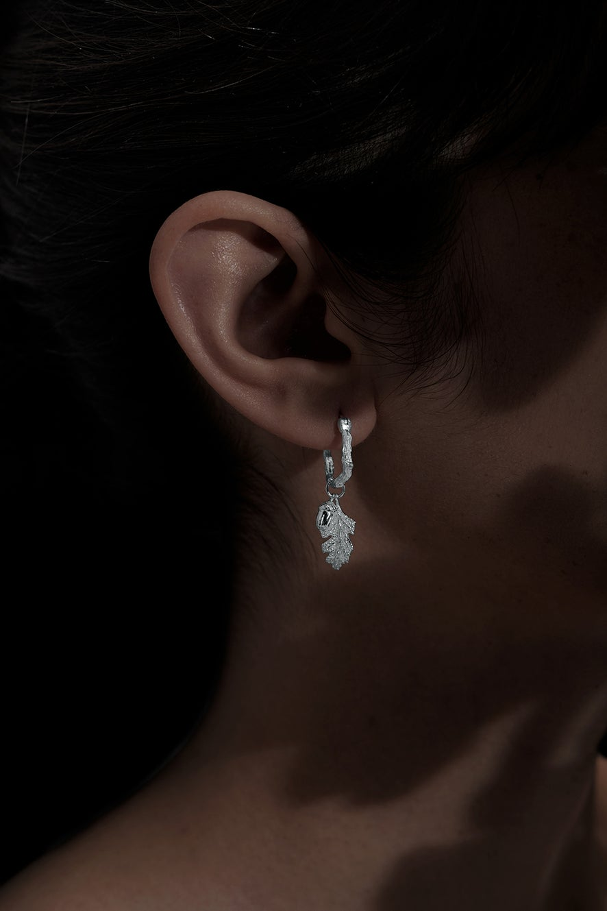 Acorn and Leaf Mini Hoop Earrings Silver