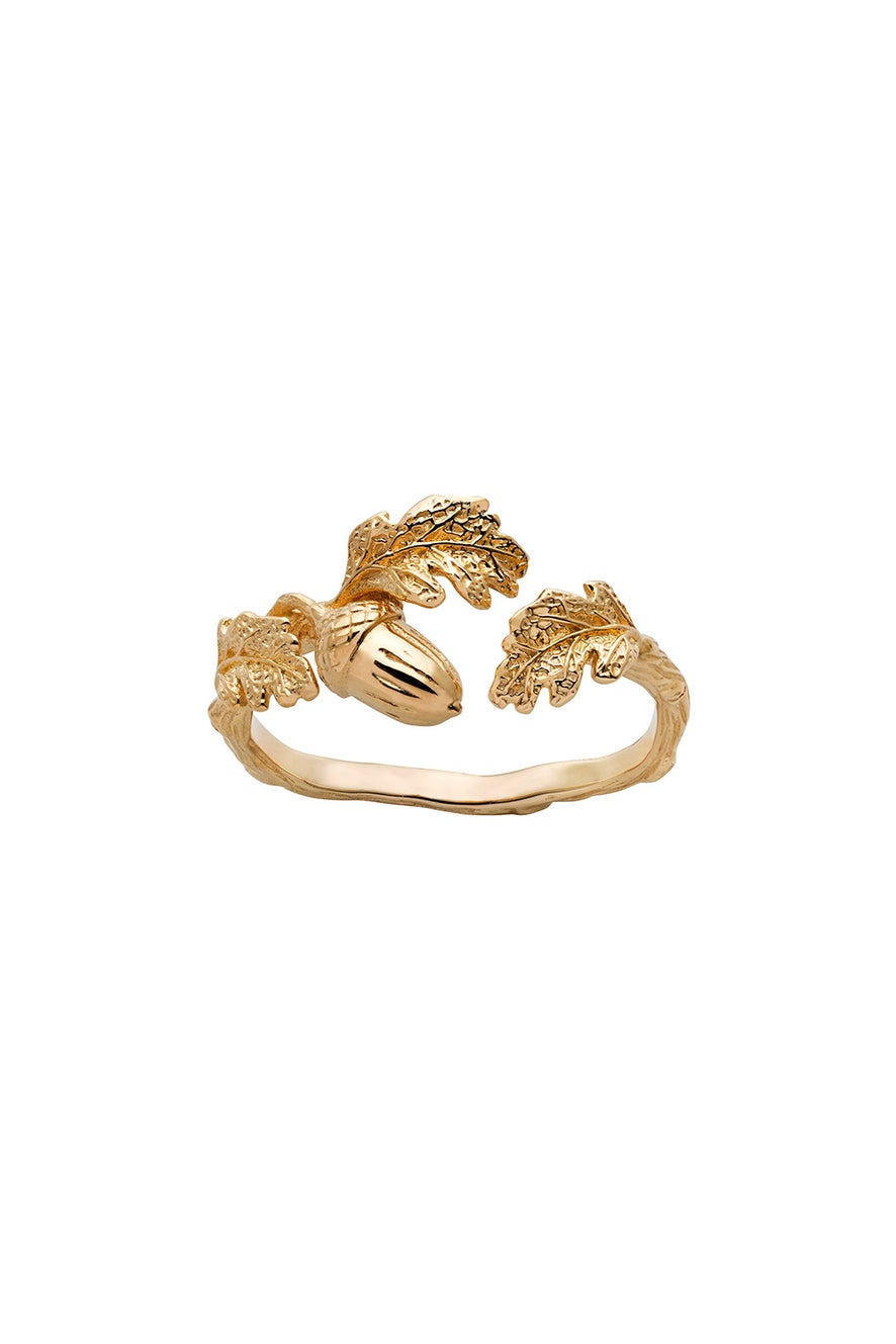 Acorn and Leaf Ring Gold