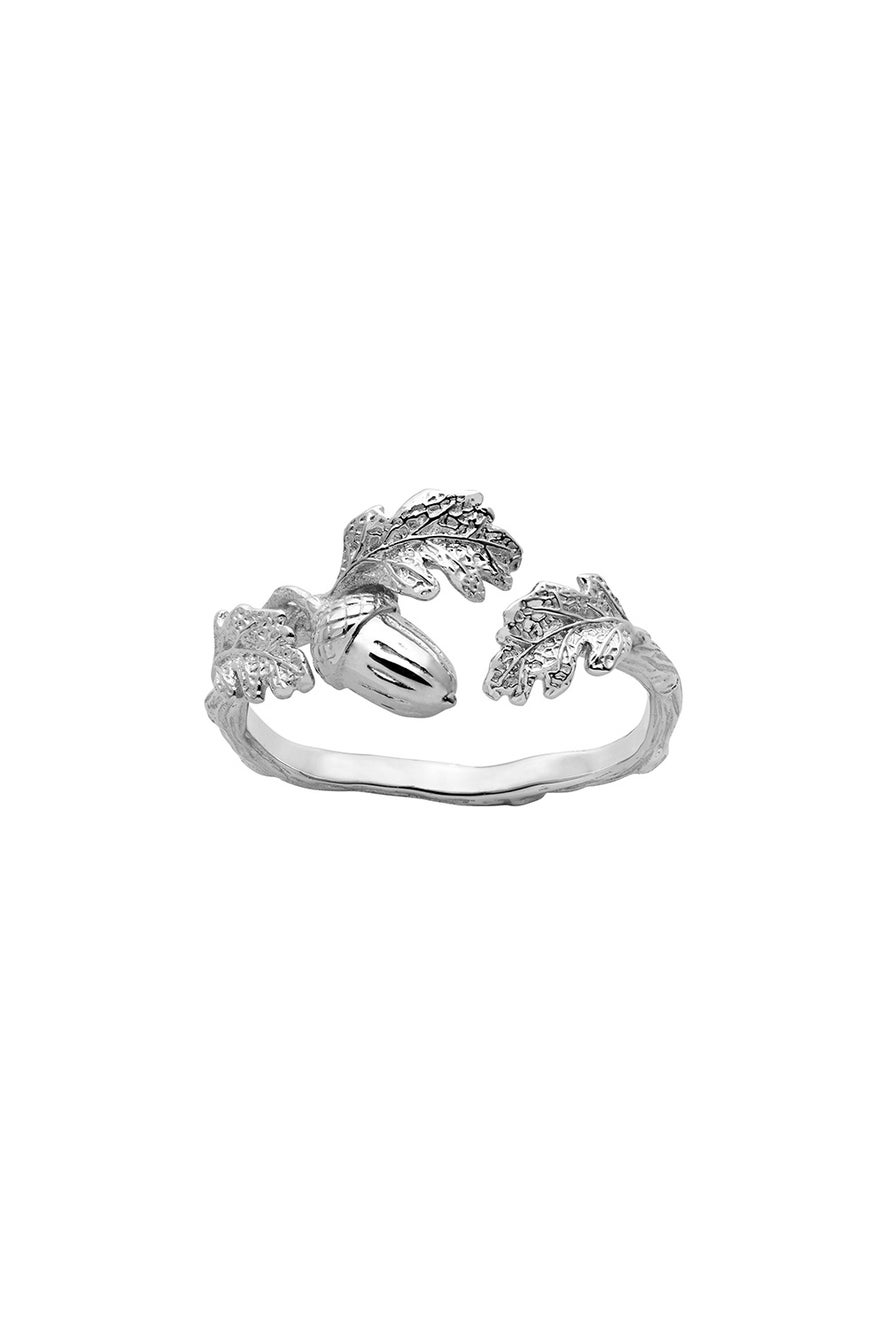 Acorn and Leaf Ring Silver