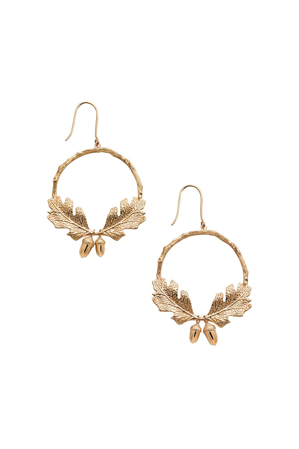 Acorn and Leaf Wreath Earrings Gold