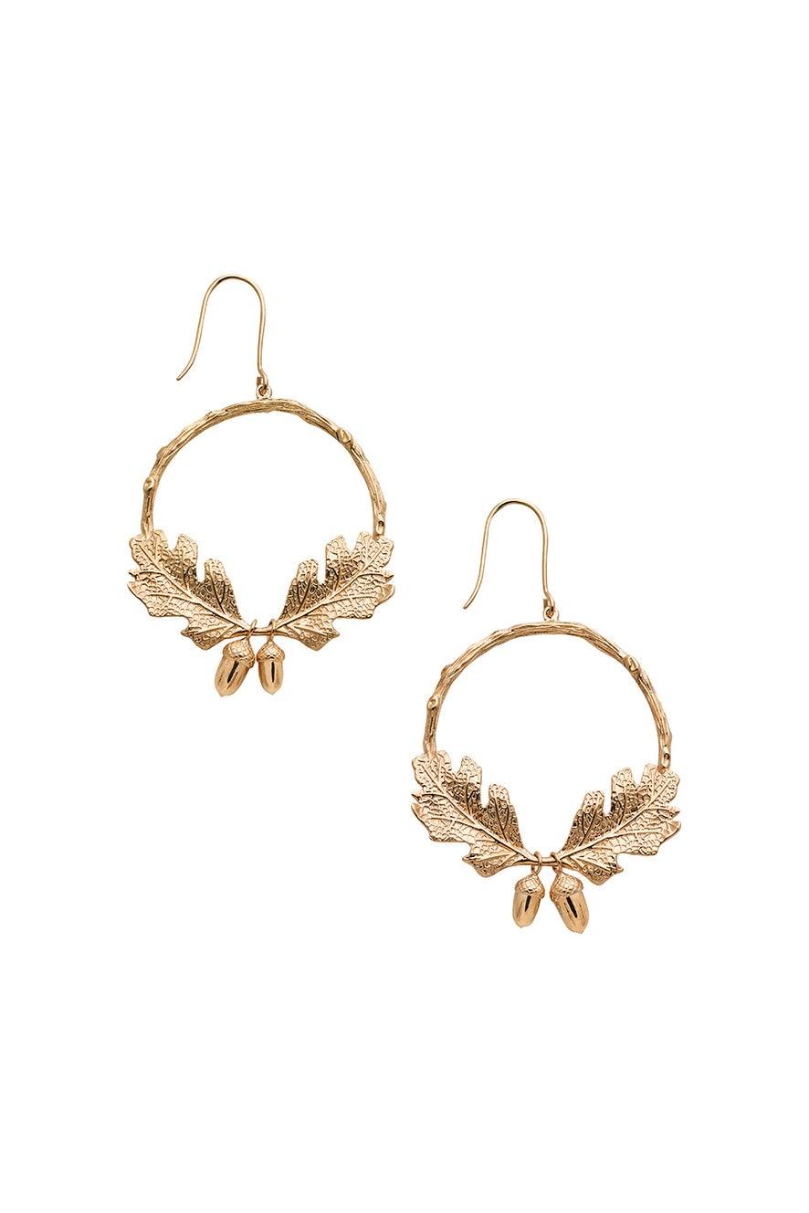 Acorn and Leaf Wreath Earrings Gold