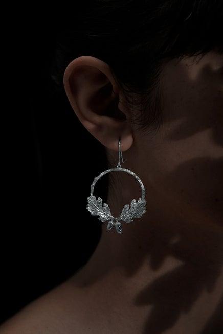 Acorn and Leaf Wreath Earrings Silver