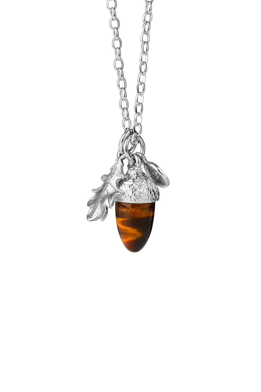 Acorn & Leaf Pendant Silver with Tiger's Eye