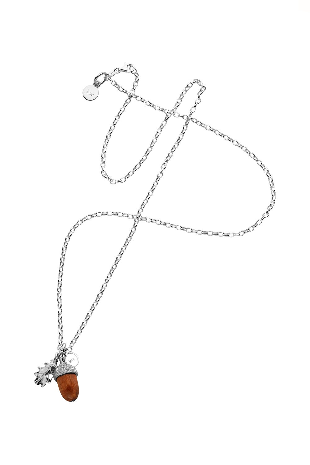 Acorn With Wood Pendant Silver