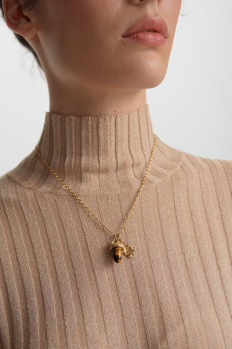 Acorn & Leaf Pendant Gold with Tiger's Eye