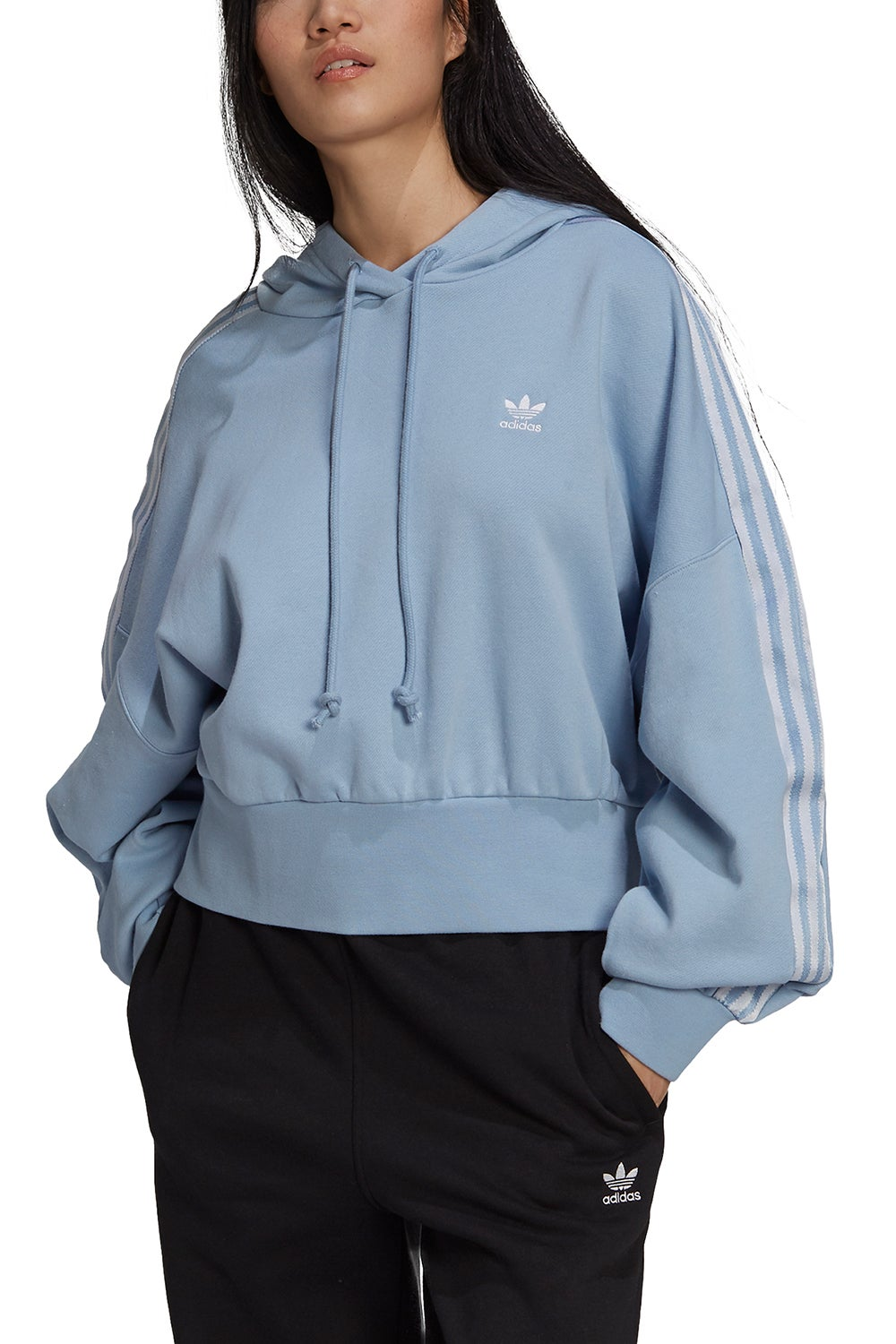adidas Adicolor Classics Satin Tape Cropped Hoodie Ambient Sky