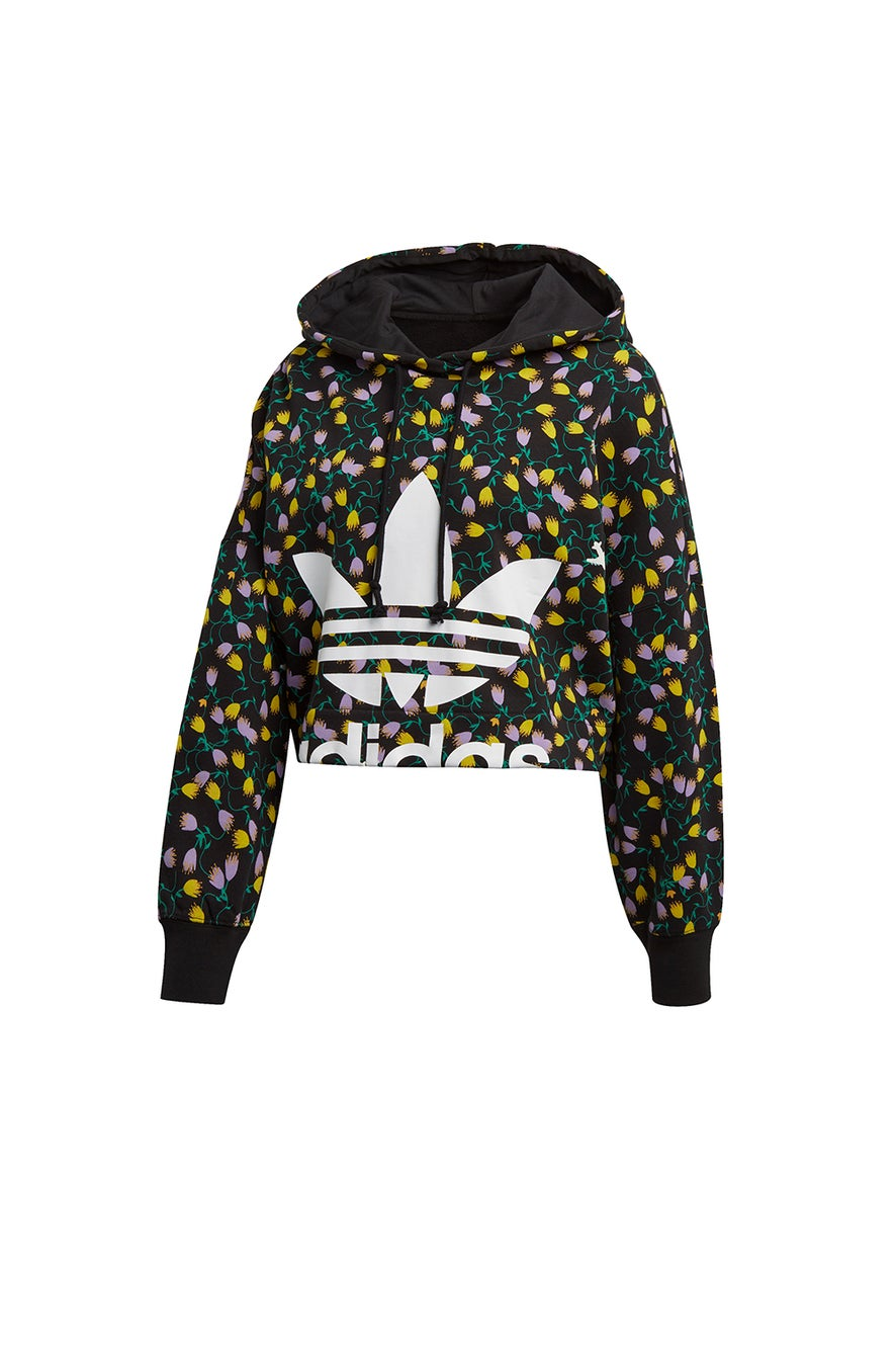 adidas All Over Print Crop Hoodie Multicolour