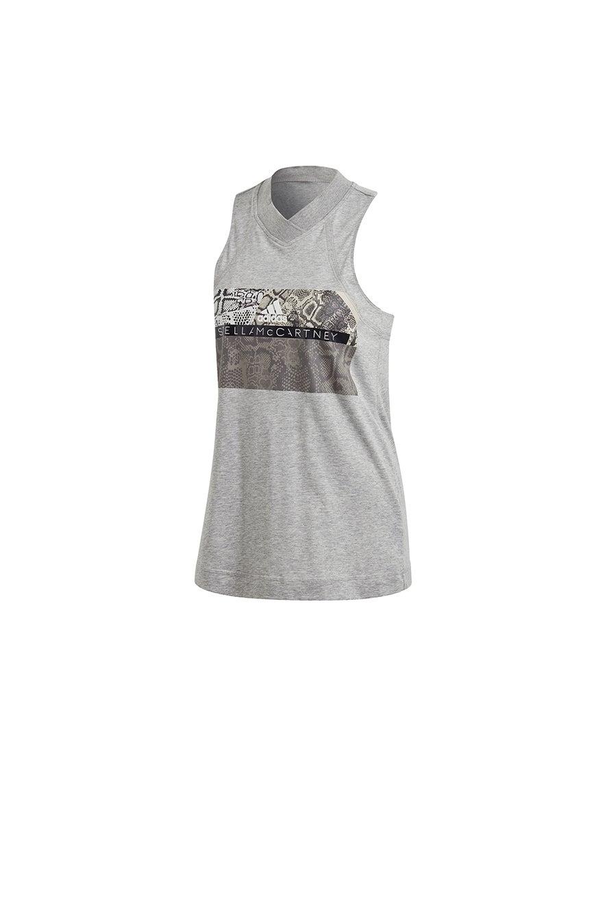 adidas by Stella McCartney Graphic Tank Medium Grey Heather/White