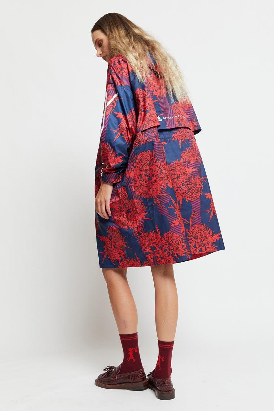 adidas by Stella McCartney Long Lightweight Allover Print Parka Vivid Red