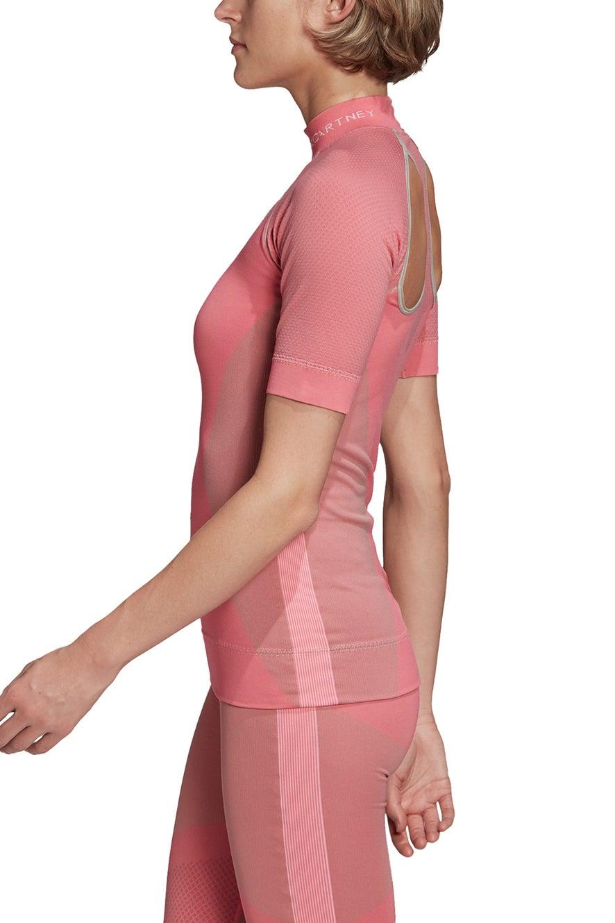adidas by Stella McCartney Run Knit Tee Solar Pink/Light Brown/White