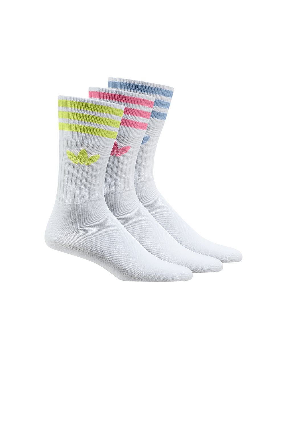 adidas Crew 3 pack Socks White/Pulse Yellow/Rose Tone/Ambient Sky