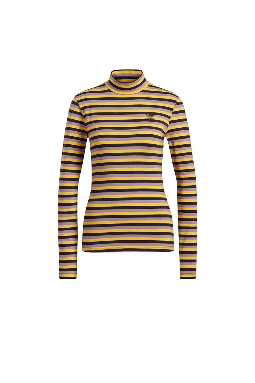 adidas Striped Long Sleeve Black/Corn Yellow
