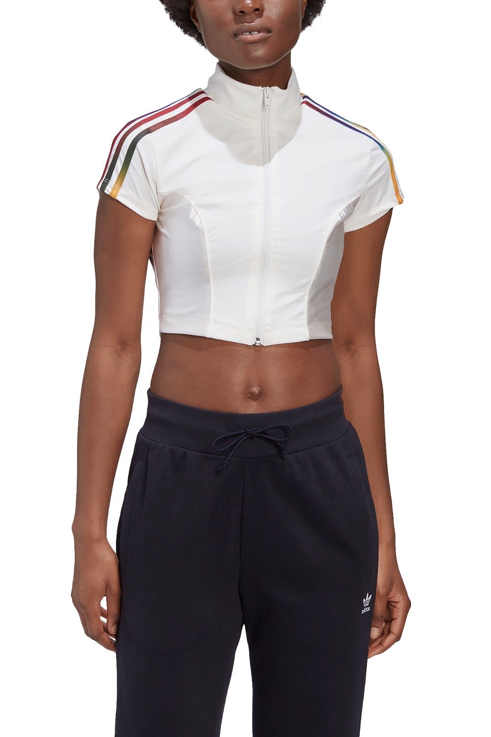 adidas x Paolina Russo Crop Zip Top White