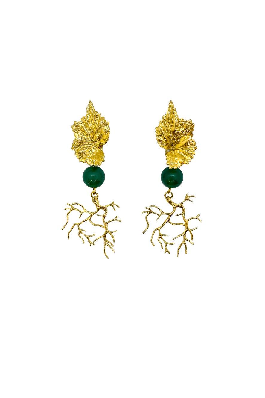 Anoushka Van Rijn Coral Leaf Earrings