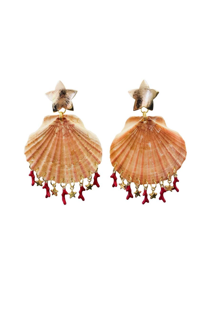 Anoushka Van Rijn Coral Shell Earrings