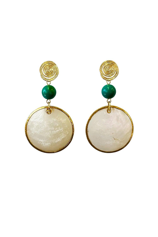 Anoushka Van Rijn Spiral Green Drop Earrings