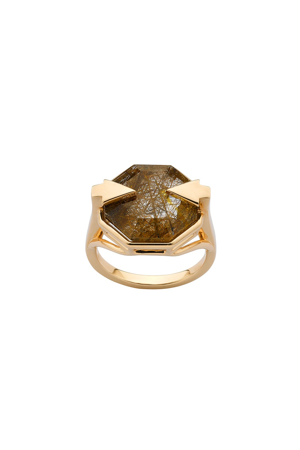 Astrid Ring Rutilated Quartz Gold