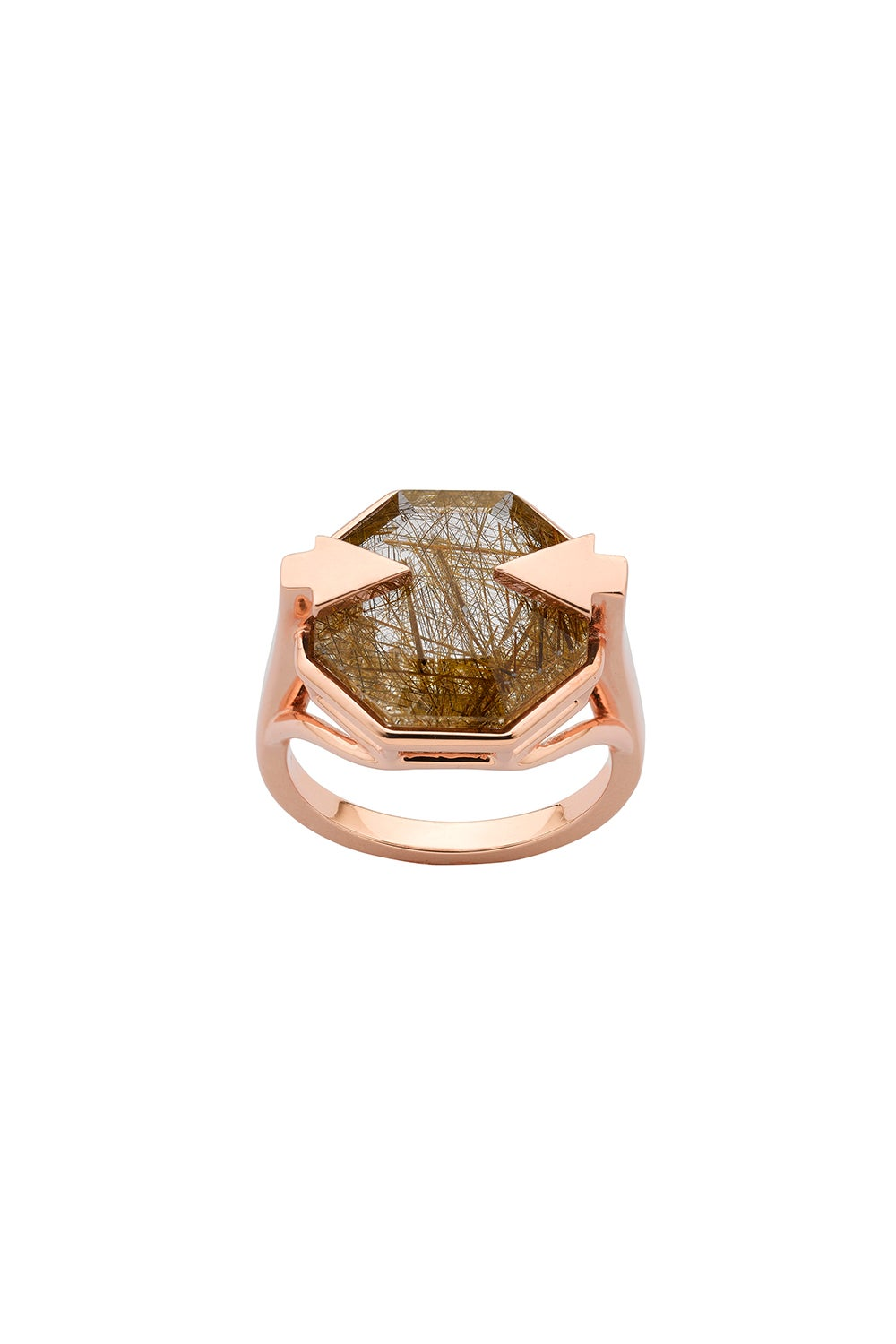 Astrid Ring Rutilated Quartz Rose Gold