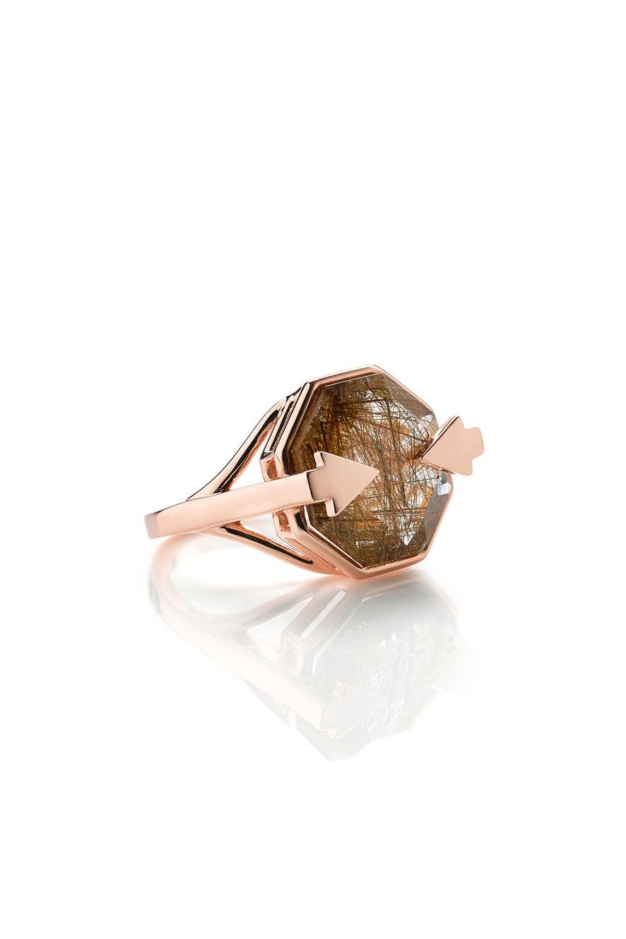 Astrid Ring Rutilated Quartz Rose Gold