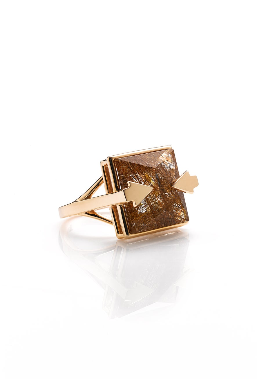 Ballistic Ring with 14mm Square Rutilated Quartz Gold