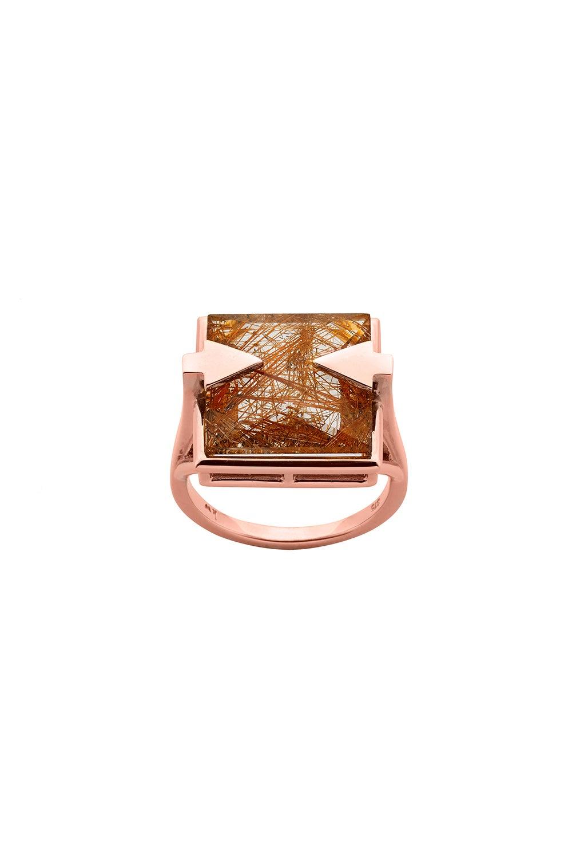 Ballistic Ring with 14mm Square Rutilated Quartz Rose Gold