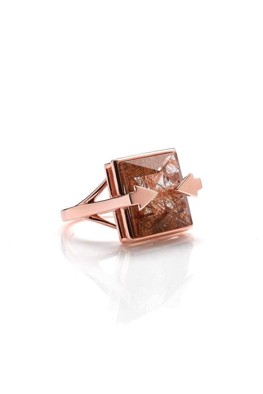 Ballistic Ring with 14mm Square Rutilated Quartz Rose Gold