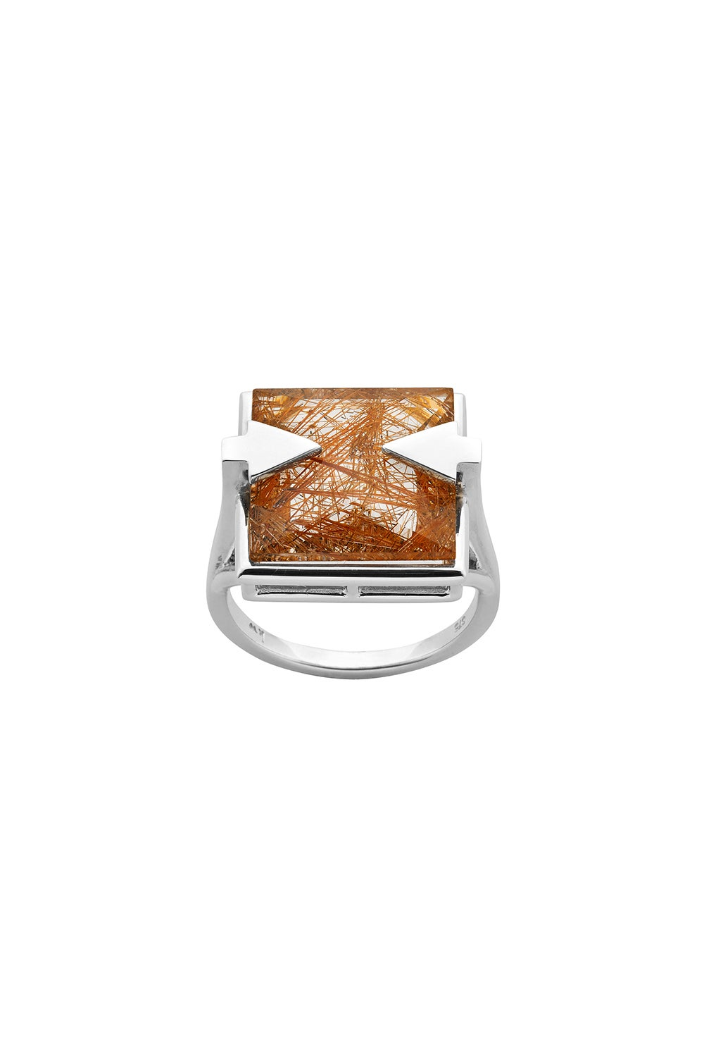 Ballistic Ring with 14mm Square Rutilated Quartz Silver