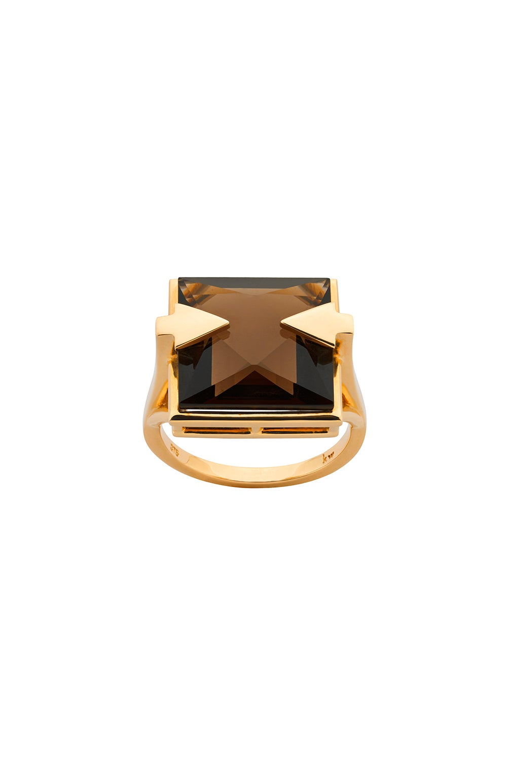 Ballistic Ring with 14mm Square Smoky Quartz Gold