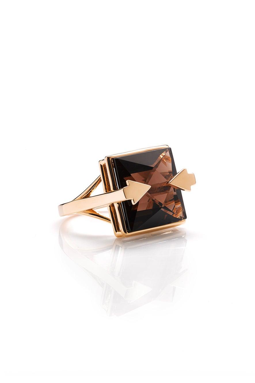 Ballistic Ring with 14mm Square Smoky Quartz Gold