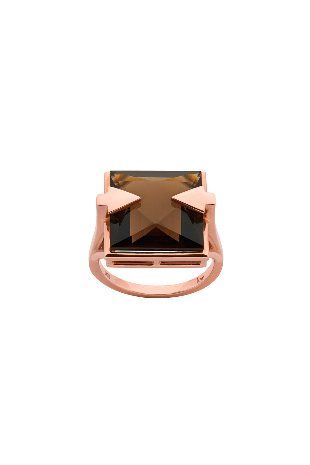 Ballistic Ring with 14mm Square Smoky Quartz Rose Gold