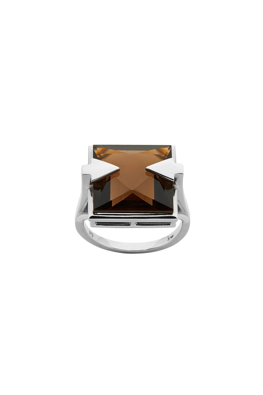 Ballistic Ring with 14mm Square Smoky Quartz Sliver