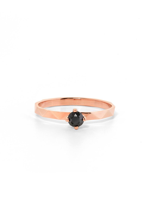 Believer Ring, Rose Gold, Black Diamond