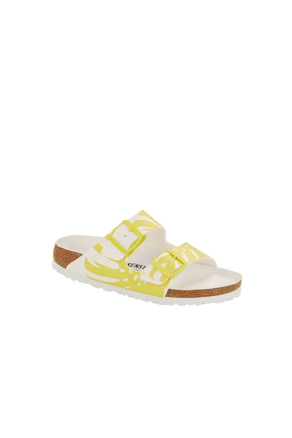 Birkenstock Arizona Birko-Flor Split Monstera White/Lime Sour