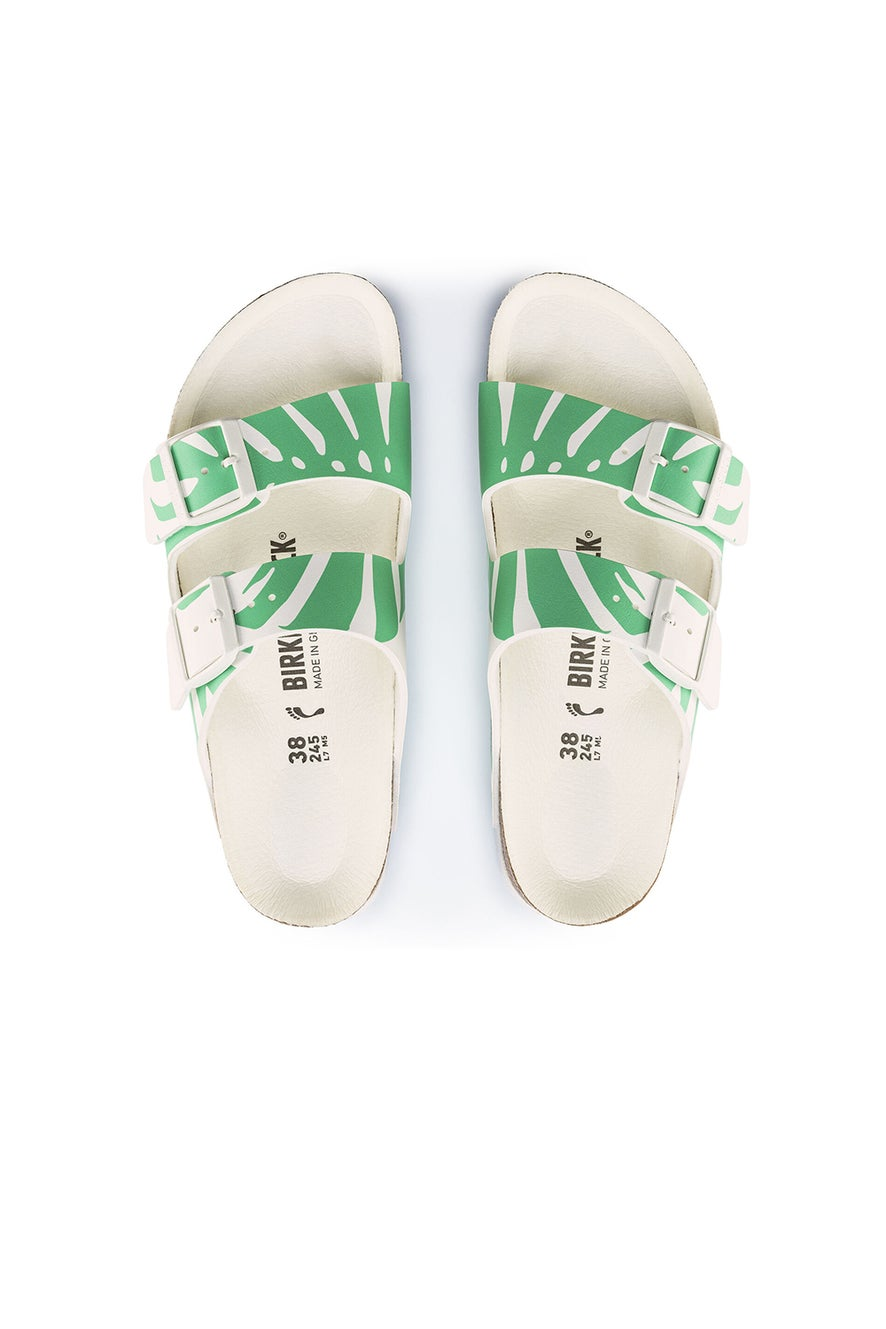 Birkenstock Arizona Birko-Flor Split Monstera White/Bold Jade