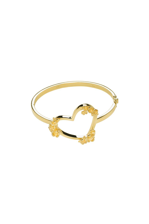 Botanical Heart Bangle Gold