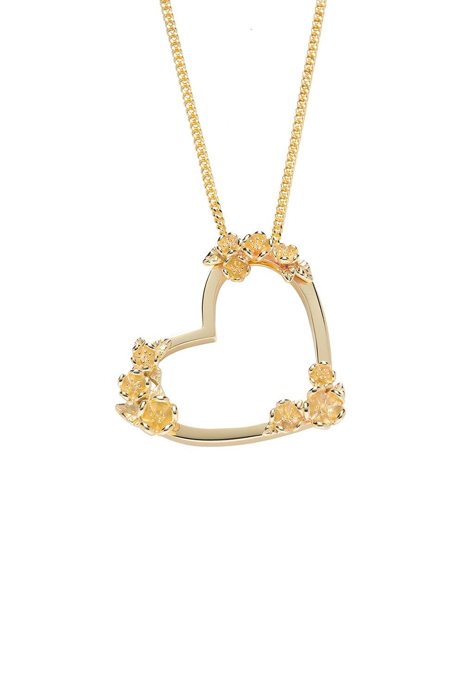 Botanical Heart Necklace Gold