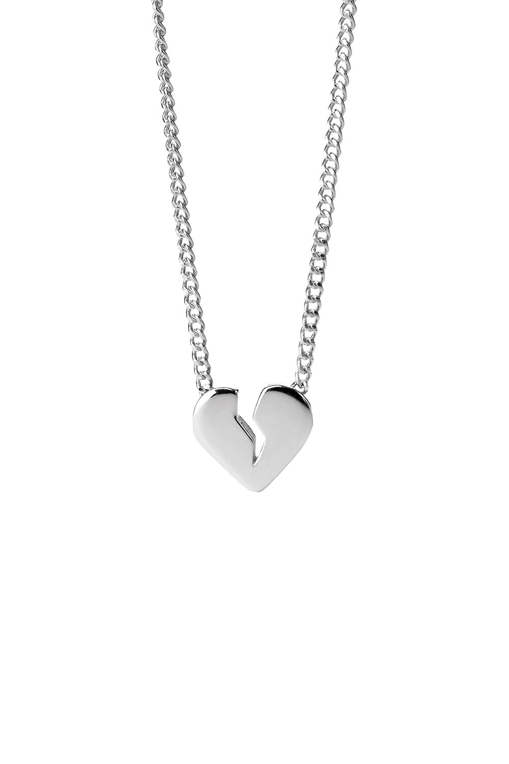 Broken Heart Necklace Silver