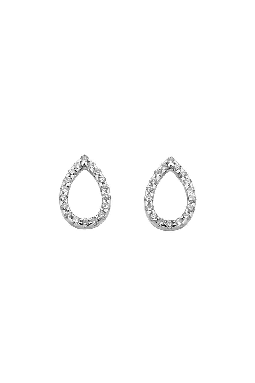 Capsule Diamond Earrings, 9ct White Gold, .24ct Diamond