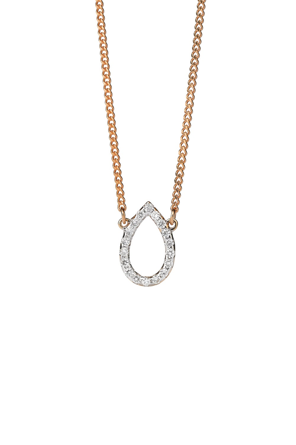 Capsule Diamond Necklace, 9ct Gold, .12ct Diamond