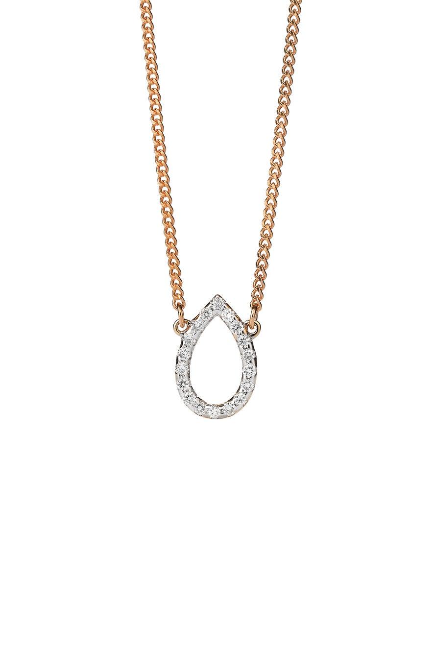 Capsule Diamond Necklace, 9ct Gold, .12ct Diamond