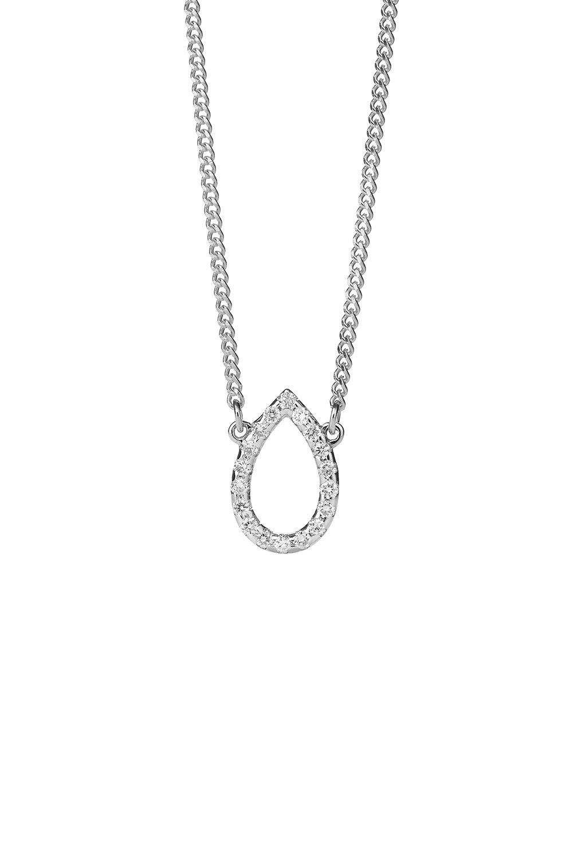 Capsule Diamond Necklace, 9ct White Gold, .12ct Diamond