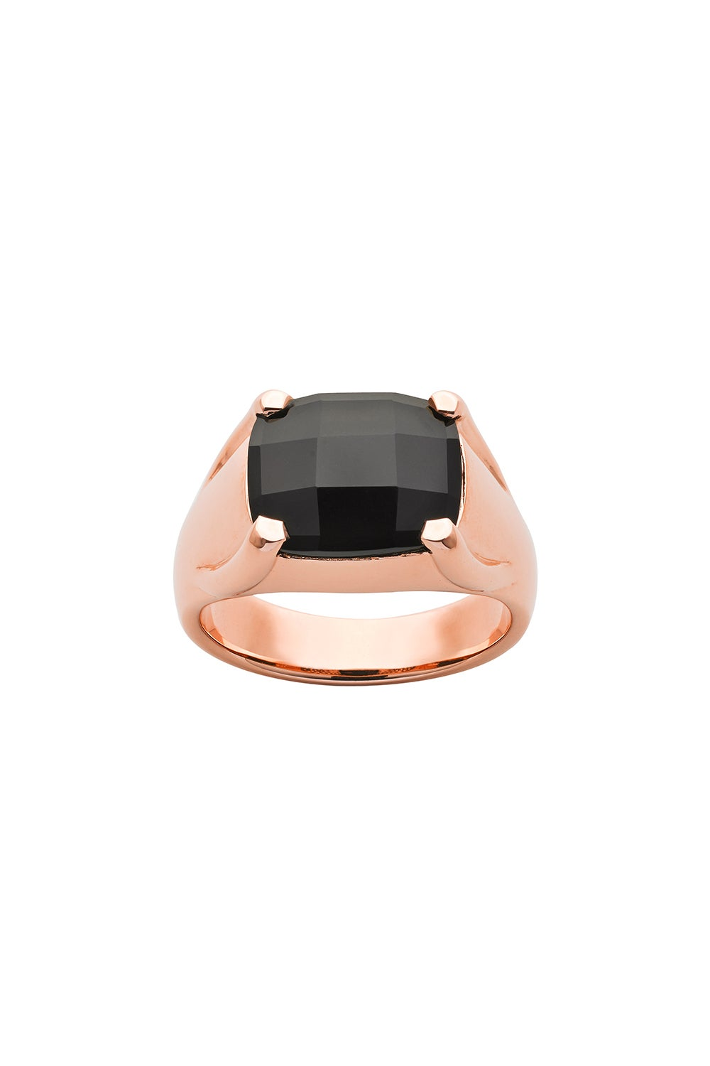 Chequerboard 12 X 10mm Onyx Rose Gold
