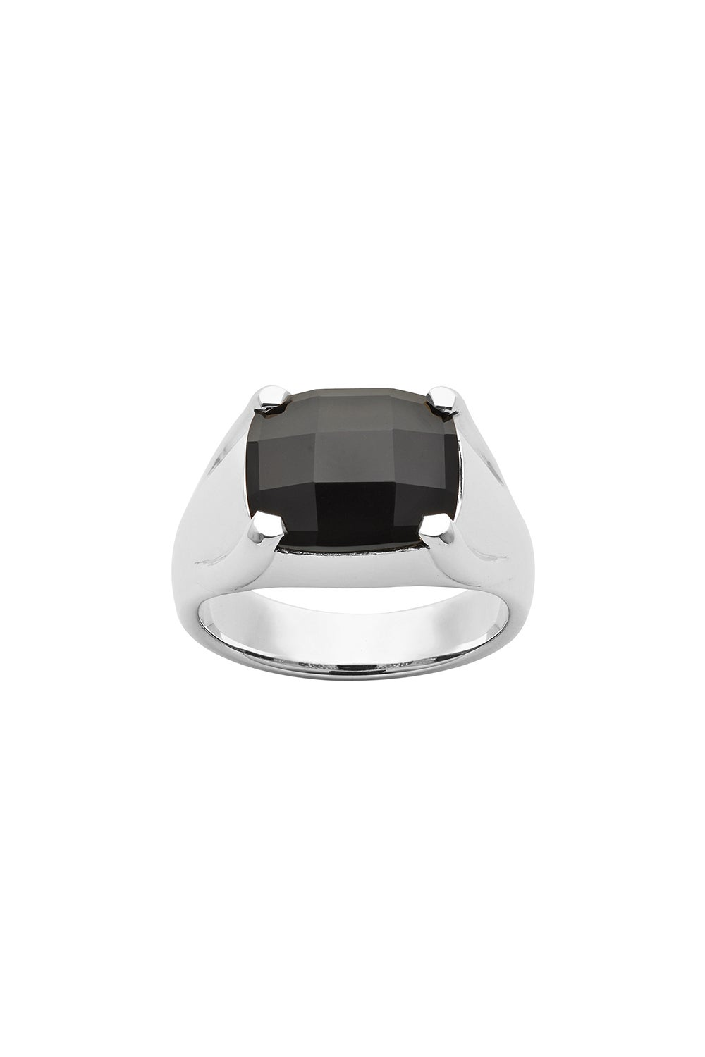 Chequerboard 12 X 10mm Onyx Silver