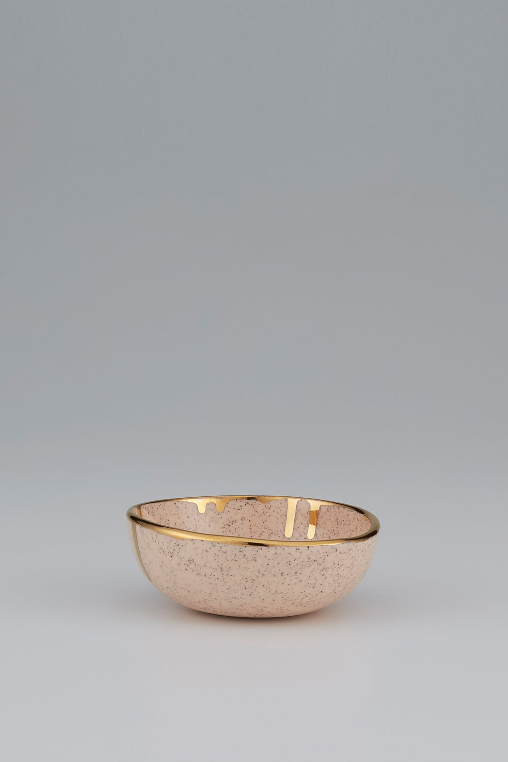 Claybird Large Tinted Ring Bowl with Gold Drip Rim Speckled Peach