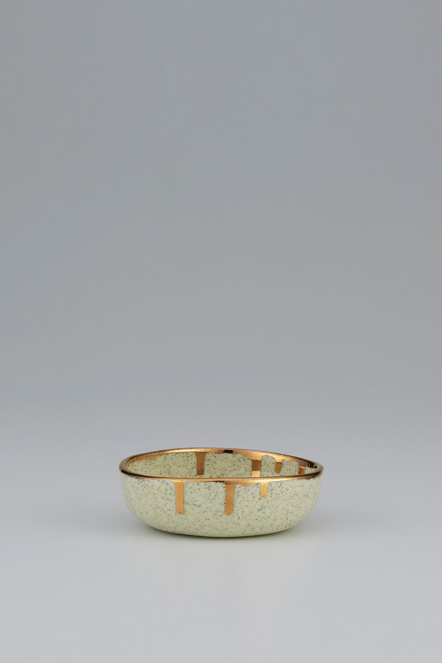Claybird Small Tinted Ring Bowl with Gold Drip Rim Speckled Yellow