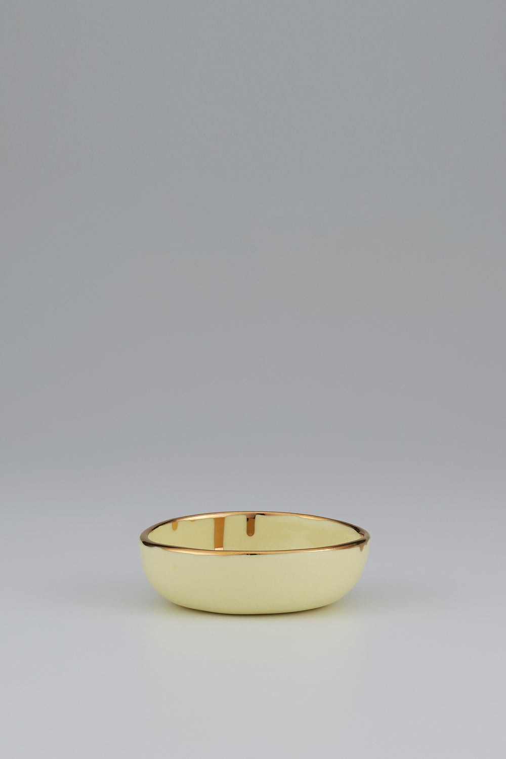 Claybird Small Tinted Ring Bowl with Gold Drip Rim Yellow